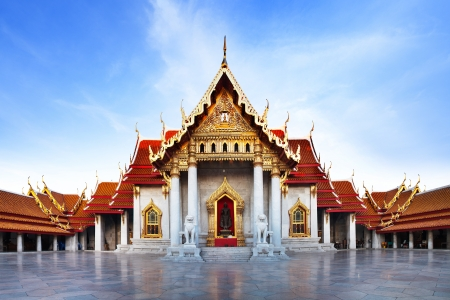 Marble Temple  Wat Benchamabophit Dusitvanaram , major tourist attraction, Bangkok, Thailand  This is a Buddhist temple, it is one of Bangkok s most beautiful temples and a major tourist attraction   photo