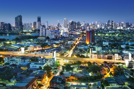 Traffic in modern city at night, Bangkok Thailand  Bangkok is the capital city of Thailand and the most populous city in the country  photo