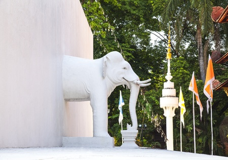 Statue of white elephant at Wat Phra Singh  temple  Landmark and No  1 tourist attractions in Chiang Mai, Thailand  Wat Phra Singh or Wat Phra Singh Woramahaviharn is a Buddhist temple  Thai language  Wat  in Chiang Mai, Northern Thailand  photo