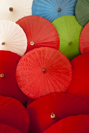 bowery: Close up of colorful umbrellas, Art and craft from Chiang Mai,Thailand  Chiang Mai  sometimes written as  Chiengmai  or  Chiangmai   is the largest and most culturally significant city in northern Thailand  Stock Photo