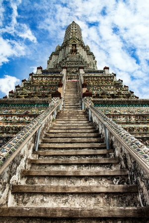 nirvana: Stairway to heaven at Wat Arun, Landmark and No  1 tourist attractions in Thailand   Wat Arun or  Temple of the Dawn  is a Buddhist temple in the Bangkok   Stock Photo