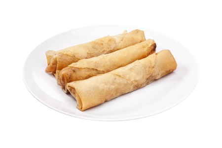 Spring rolls  Dim sum or Loempia  , isolated with clipping paths  Spring rolls are a large variety of filled, rolled appetizers