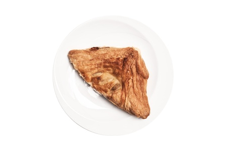 Delicious freshly baked pie with plate, isolated with clipping paths on white background  photo