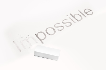 potentiality: Words  Impossible  and  possible , concept of Making Changing Stock Photo