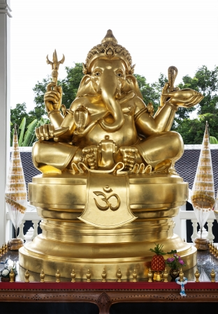 devanagari: Golden Ganesha  Ganesh, Ganapati  Statue  This is a widely worshiped deity in the Hindu pantheon  His image is found throughout India and Nepal and extends to Jains, Buddhists, and beyond India
