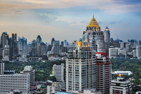 Urban City Skyline, Sathorn Rd ,  Bangkok s central business district , Thailand  Bangkok is the capital city of Thailand and the most populous city in the country  photo