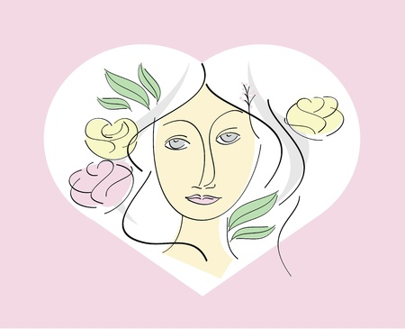 Woman with rose and leave in heart shape  Vector