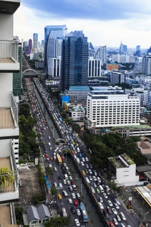Traffic in modern city, Bangkok Thailand  Sathorn Rd  central business district , Thailand  Bangkok is the capital city of Thailand and the most populous city in the country  photo