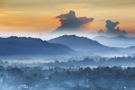 horizon over land: Morning Mood in the mountains Thandwe  Sandoway , Rakhine State,  Myanmar  Burma