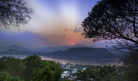Luang Prabang skyline, Laos  Luang Prabang, or Louangphrabang was the capital of a kingdom, It is a UNESCO World Heritage Site