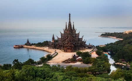 Sanctuary of Truth, Attraction in Pattaya, The Largest Wooden Structure in Thailand  - This is a gigantic wooden temple construction according to ancient Thai ingenuity,  eflection of Ancient Vision of Earth, Ancient Knowledge, and Eastern Philosophy  photo