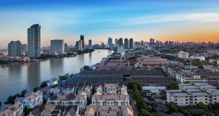Urban City Skyline, Chao Phraya River, Bangkok, Thailand - Bangkok is the capital city of Thailand and the most populous city in the country  photo