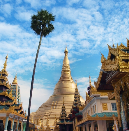 buddhist stupa: Shwedagon Pagoda in Yangon, Landmark and No  1 tourist attractions in Myanmar  Burma   - The Shwedagon is The Most Important pagoda and stupa in Yangon  Rangoon , Myanmar  Burma