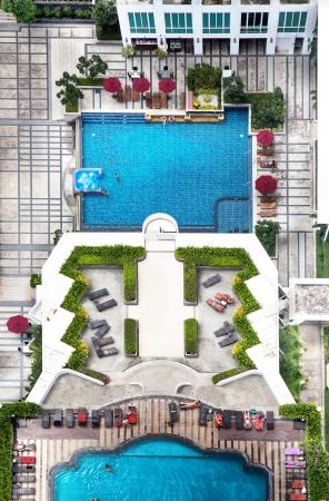 2 piscines avec belle �noncent Banque d'images