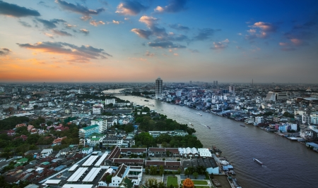 phraya: Urban City Skyline, Chao Phraya River, Bangkok, Thailand  - Bangkok is the capital city of Thailand and the most populous city in the country