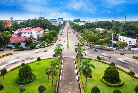 vientiane: Urban City Skyline, Vientiane, Laos  View from the top of Patuxai or Victory Gate or Gate of Triumph  Vientiane or Viang chan is the capital and largest city of Laos  Stock Photo