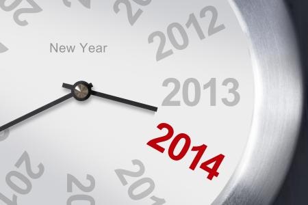 Nouvelle ann�e 2014 concept, horloge gros plan sur fond blanc New Year Clock, 2013-2014
