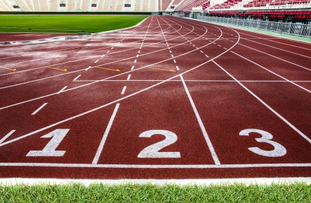 Piste de course � la texture de fond - piste de course rouge dans le stade national de la Tha�lande ou Suphachalasai Stadium, Bangkok