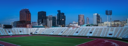 sports venue: Urban City with The National Stadium of Thailand, Bangkok  - Bangkok is the capital city of Thailand and the most populous city in the country  The National Stadium of Thailand is a sports complex located in Bangkok   Editorial