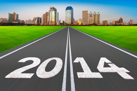Road with modern city   New Year