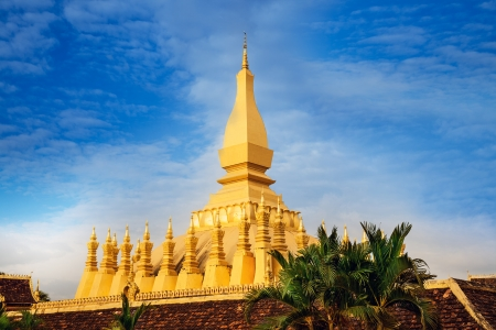 buddhist stupa: Pha That Luang Temple  or Great Stupa in Vientiane, Symbol of Laos  Pha That Luang  Great Stupa  is a gold-covered large Buddhist stupa in Vientiane, Laos  Pha That Luang was built in the 3rd century