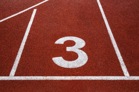 Running track with number 3 texture