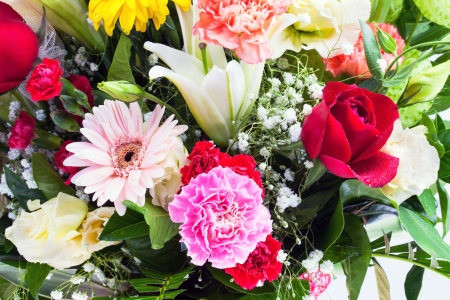 Beautiful rose, carnation, lilly and gerbera flowers  photo