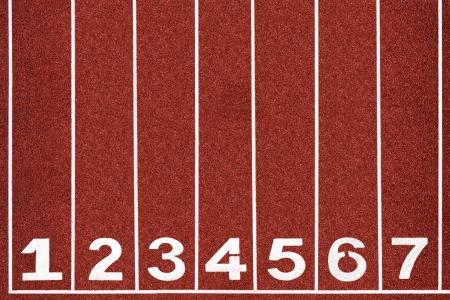 pista de atletismo: Pista de atletismo con el n�mero 1-7, extracto, textura