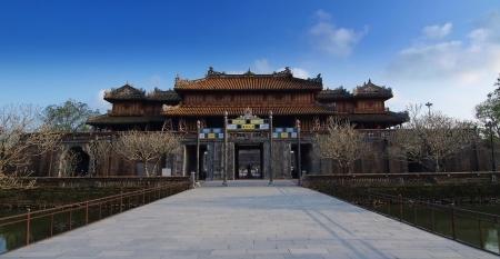 Hue Imperial City  The Citadel , Hue, Vietnam  UNESCO World Heritage Site  Hue Imperial City was set up by Nguyen Dynasty from 1805 to 1945  This is a walled fortress and palace in the former capital of Vietnam  Editorial