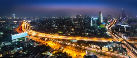 Night Urban City Skyline, Bangkok, Thailand  Bangkok is the capital city of Thailand and the most populous city in the country  photo
