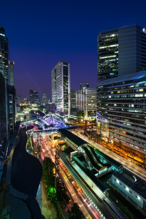 Modern city, Sathon Road, Bangkok, Thailand  Sathon Road is a major road in central business district  Bangkok is the capital city of Thailand and the most populous city in the country  photo