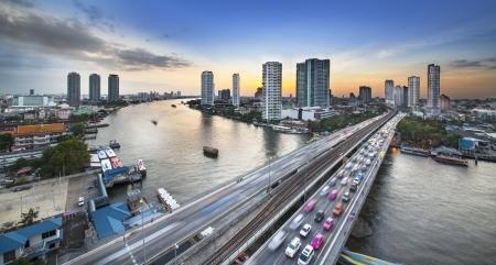 phraya: Traffic in modern city, Chao Phraya River,  Bangkok, Thailand  Chao Phraya is a major river in Thailand  Bangkok is the capital city of Thailand   Stock Photo