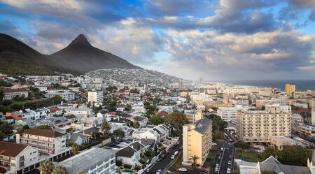 south western: Urban City skyline, Cape Town, South Africa  Cape Town is the second largest city in South Africa and is the capital of the Western Cape Province  Stock Photo