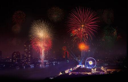 phraya: Fireworks in Urban City, Chao Phraya River, Bangkok,Thailand  Chao Phraya is a major river in Thailand  Bangkok is the capital city of Thailand