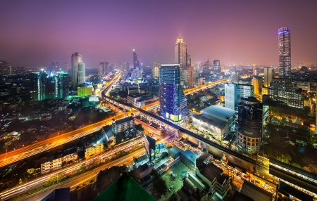 Urban City Skyline, Bangkok, Thailand  - Bangkok is the capital city of Thailand and the most populous city in the country