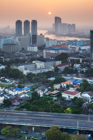 Urban City Skyline, Bangkok, Thailand  Bangkok is the capital city of Thailand and the most populous city in the country  photo