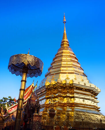 tourist attractions: Buddhist temple, Wat Phra That Doi Suthep, Chiang Mai, Landmark and tourist attractions in Thailand  - Wat Phra That Doi Suthep is Buddhist temple on the mountain and it remains a popular destination for tourists