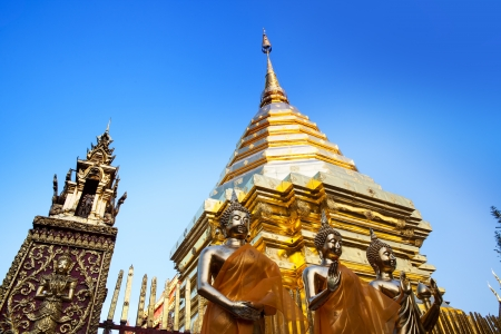 Buddhist temple, Wat Phra That Doi Suthep, Chiang Mai, Landmark and tourist attractions in Thailand  -Wat Phra That Doi Suthep is Buddhist temple on the mountain and it remains a popular destination for tourists  photo