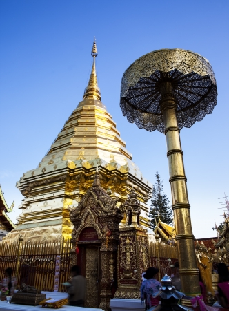 tourist attractions: Buddhist temple, - Wat Phra That Doi Suthep, Chiang Mai, Landmark and tourist attractions in Thailand  Wat Phra That Doi Suthep is Buddhist temple on the mountain and it remains a popular destination for tourists  Stock Photo