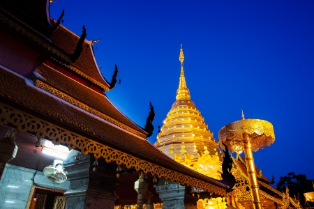 Buddhist temple, - Wat Phra That Doi Suthep, Chiang Mai, Landmark and tourist attractions in Thailand  Wat Phra That Doi Suthep is Buddhist temple on the mountain and it remains a popular destination for tourists  photo