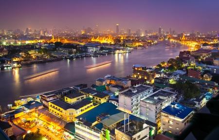 Urban City Skyline, Grand Palace   Wat Phra Kaew, Bangkok, Thailand  - Chao Phraya is a major river in Thailand  Bangkok is the capital city of Thailand