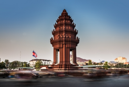 Independence Monument, Phnom Penh, Travel Attractions in Cambodia  The Independence Monument was built in 1958 for Cambodia s independence from France in 1953  It stands in the centre of the Phnom Penh city Stock Photo - 25469282