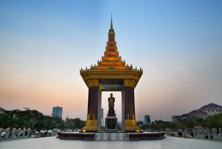 khmer: Statue of King Norodom Sihanouk, Phnom Penh, Travel Attractions in Cambodia  Norodom Sihanouk was the King of Cambodia from 1941 to 1955 and again from 1993 to 2004, he was known as  The King-Father of Cambodia
