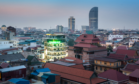 Urban City Skyline, Phnom Penh, Cambodia, Asia  Phnom Penh is the capital and largest city of Cambodia  Phnom Penh has been the national capital since French colonization of Cambodia, Stock Photo
