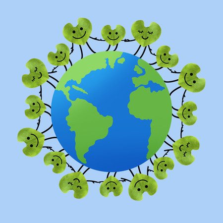 People around the world holding hands, Save the planet and Unity concept,  Green leaf in heart shape, environmental protection concept  photo