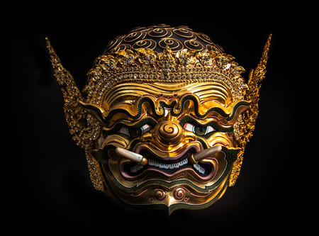 khon: Asia Mask, Khon Mask of Thailand, - Khon is a Thai classical dance-drama with Ramayana  Ramakien  Story  Stock Photo