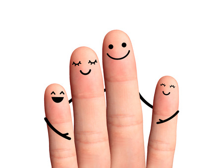 Happy fingers hug on white background