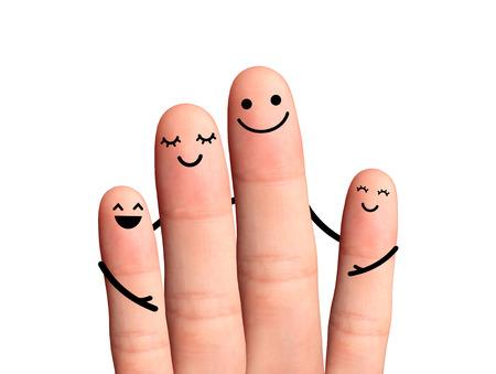 caritas pintadas: Dedos felices abrazan en el fondo blanco
