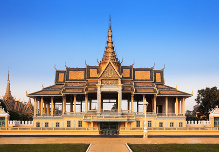 Royal Palace and Silver pagoda  The throne hall , Phnom Penh, No 1 Attractions in Cambodia  This is the royal residence of the king of Cambodia  Silver pagoda is located on The Royal Palace