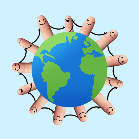 Happy fingers holding hands, environmental concept, Network or social media concept photo